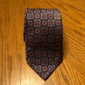 Robert Talbott Silk Tie Seven Fold Blue & Orange